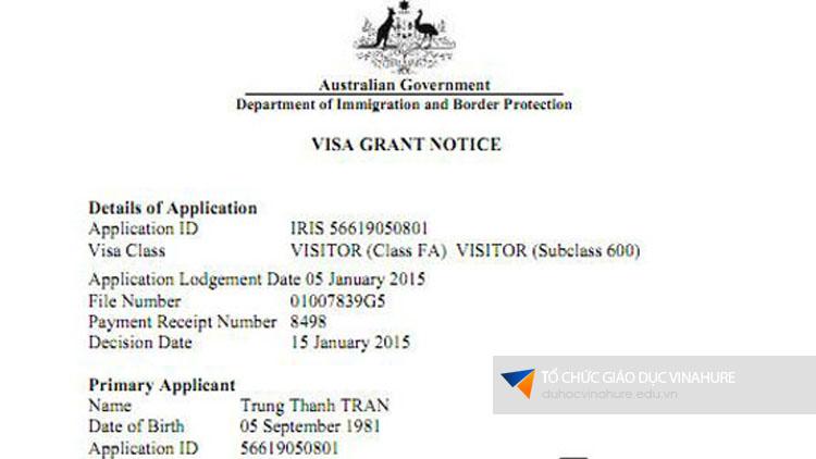 Visa du học Úc Trần Trung Thành
