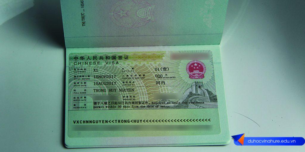 Visa du học Trung Quốc - Bạn Nguyễn Trọng Huy