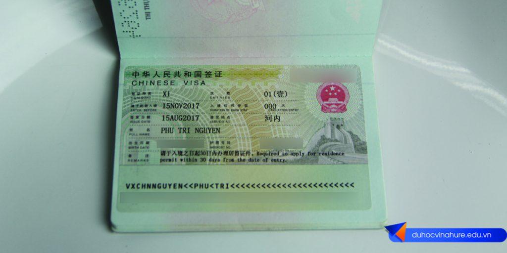 Visa du học Trung Quốc Nguyễn Phú Trí