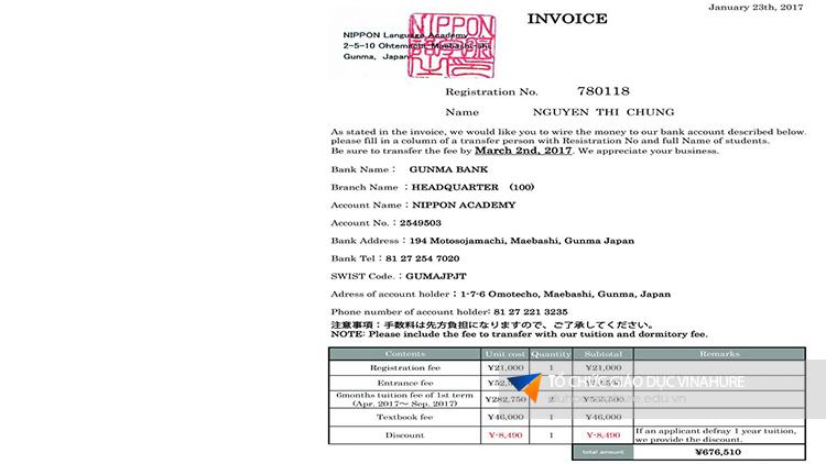 Invoice đóng học phí trường NIPPON Nhật Bản