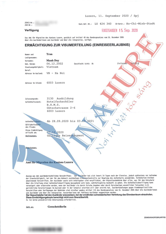 đỗ visa du học Thụy Sĩ trường BHMS