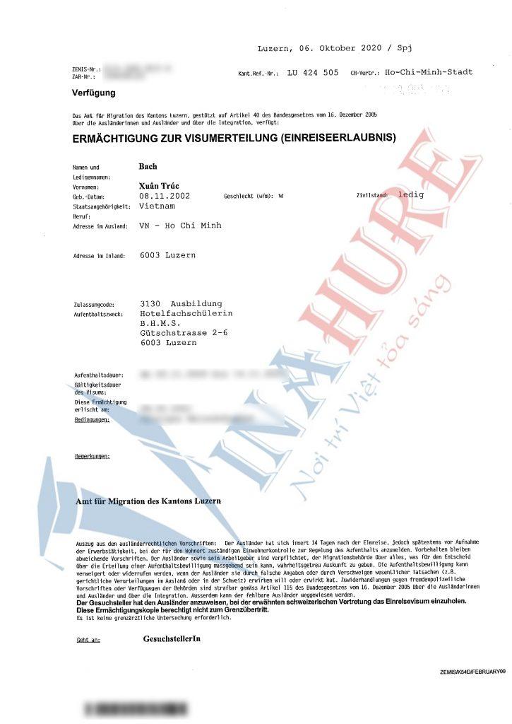 visa du học Thụy Sĩ trường BHMS
